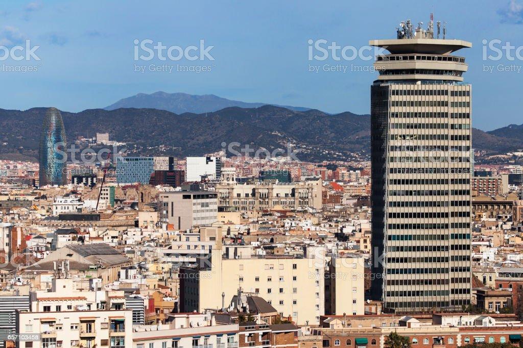 Barcelona Cityscape from Miramar stock photo