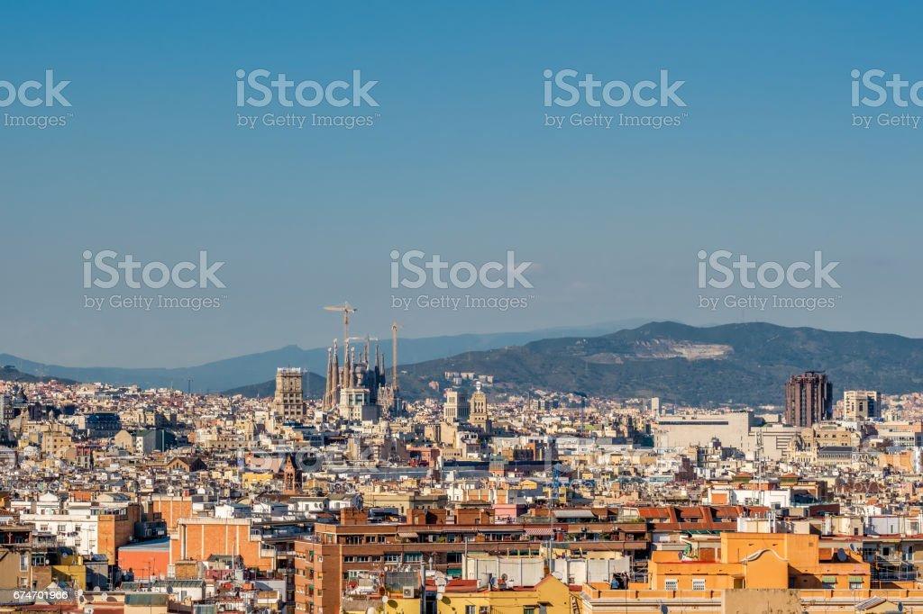 Barcelona cityscape overlook stock photo