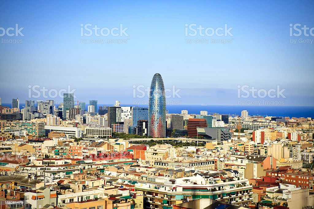 Barcelona Cityscape viewed from the Sagrada Familia royalty-free stock photo