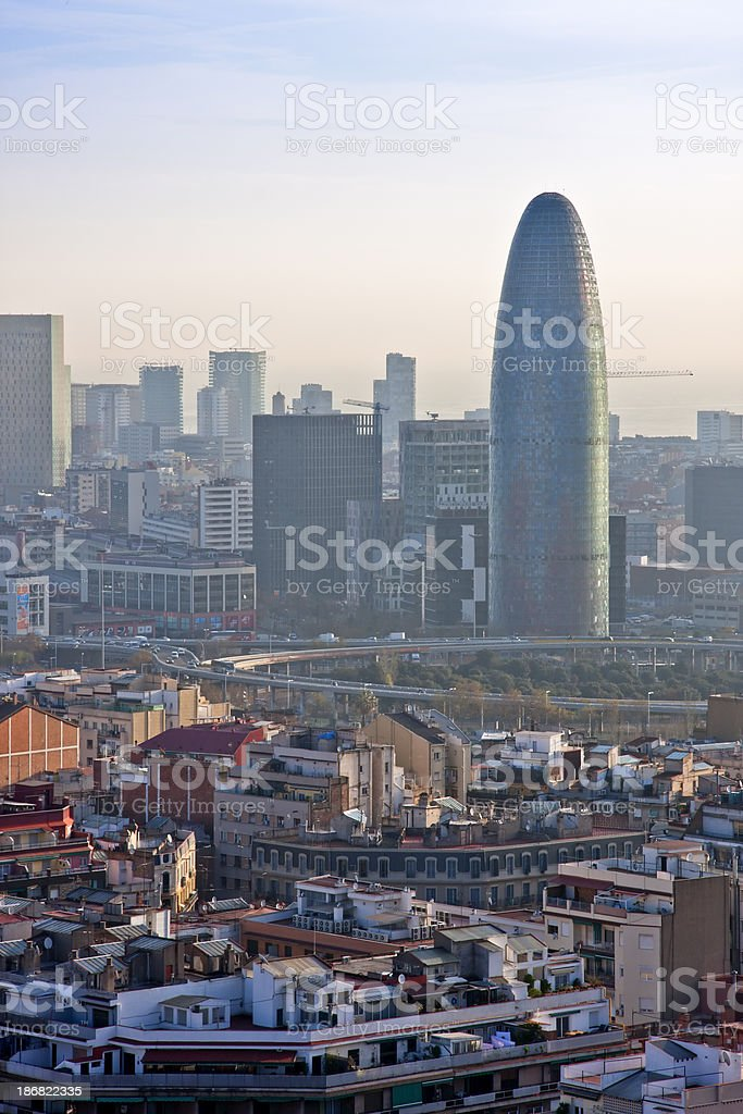 Barcelona Cityscape with Agbar Tower, Aerial View stock photo