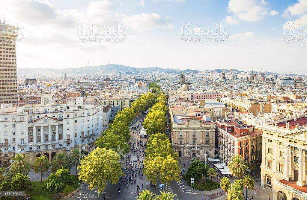 Barcelona cityscape with La Rambla stock photo