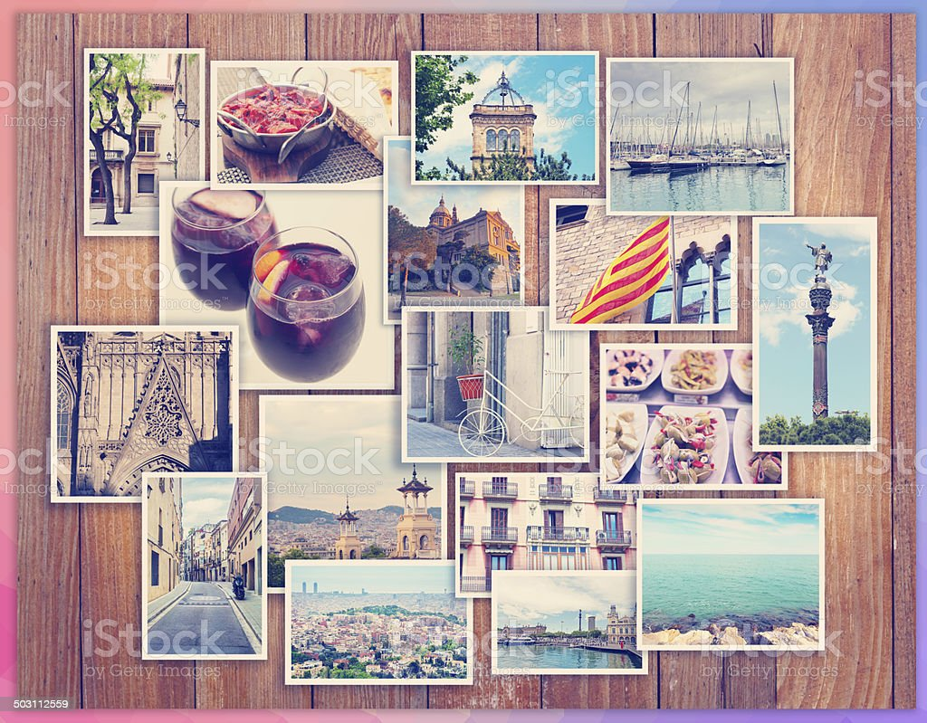 Barcelona collage, a few photos on a wooden background, postcard stock photo