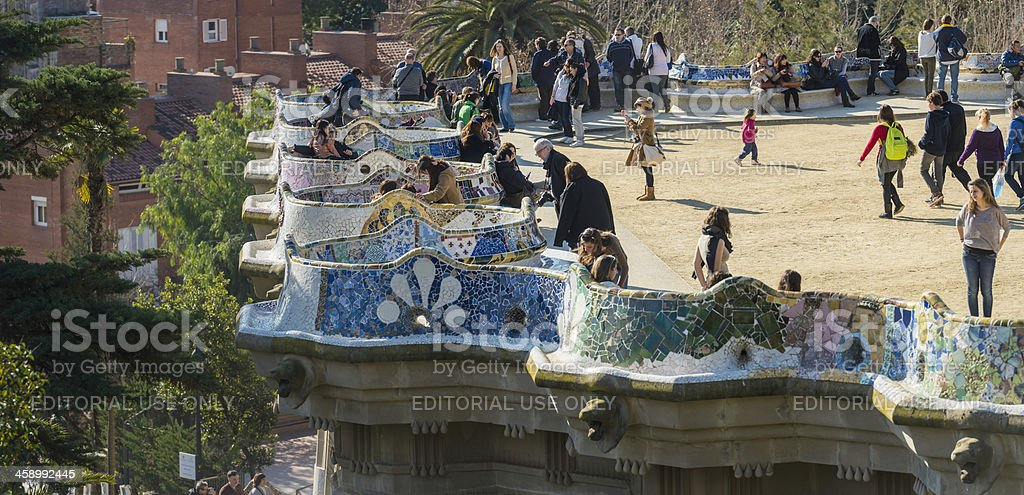 Barcelona crowds of tourists in Gaudi's Parc Guell Spain stock photo