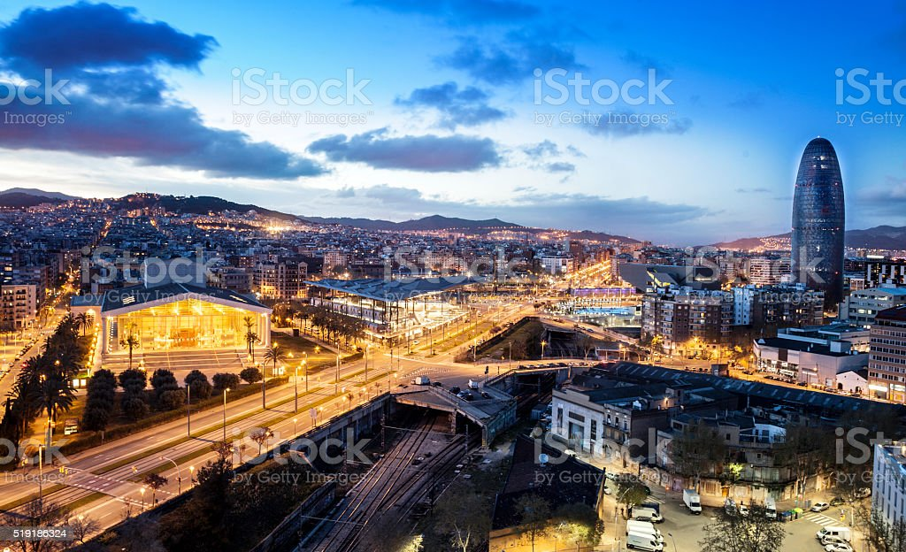 Barcelona dusk landscape stock photo