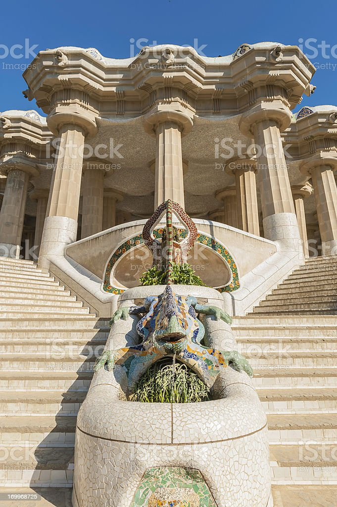Barcelona entrance to Gaudi's Parc Guell Spain stock photo