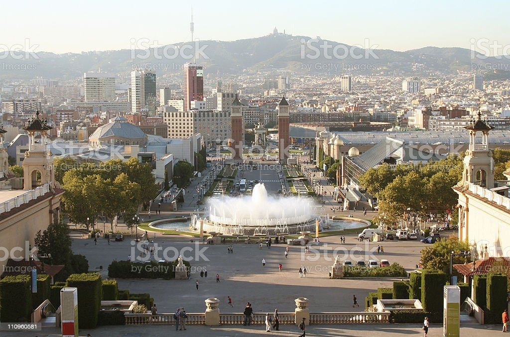Barcelona evening view from Montjuic mountain. royalty-free stock photo