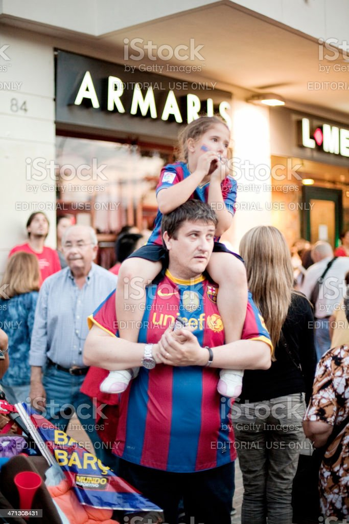 Barcelona fans celebrating royalty-free stock photo