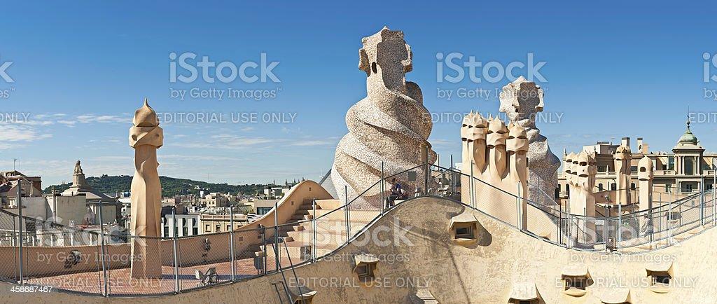 Barcelona Gaudi chimneys Casa Mila La Pedrera Spain stock photo