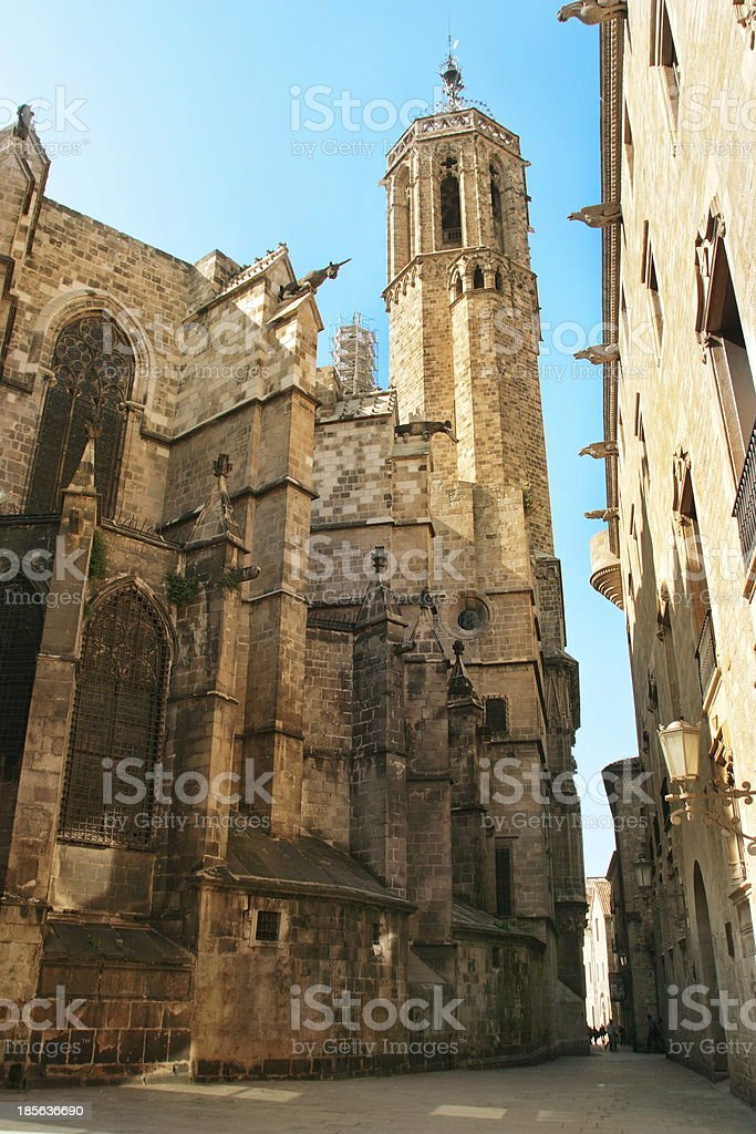 Barcelona: Gothic Cathedral of Santa Eulalia in Barri Gotic stock photo