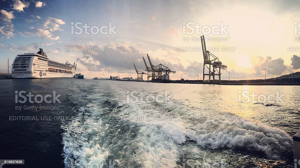 Barcelona harbor and cruise ship on sunset, Spain stock photo