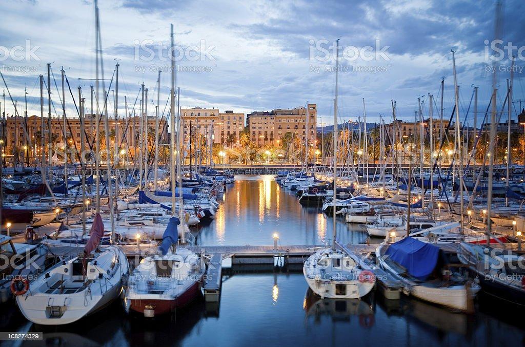 Barcelona Harbor at Dusk stock photo