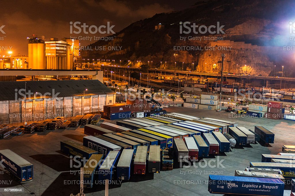 Barcelona harbor view at night stock photo