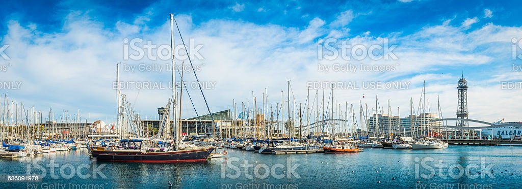 Barcelona harbour marina yachts moored on Mediterranean waterfront panorama Spain stock photo