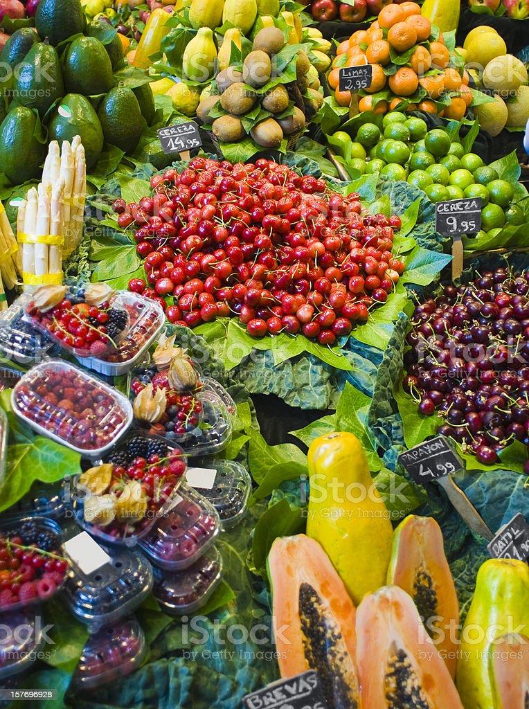 Barcelona La Boqueria food market fruit and vegetables. royalty-free stock photo