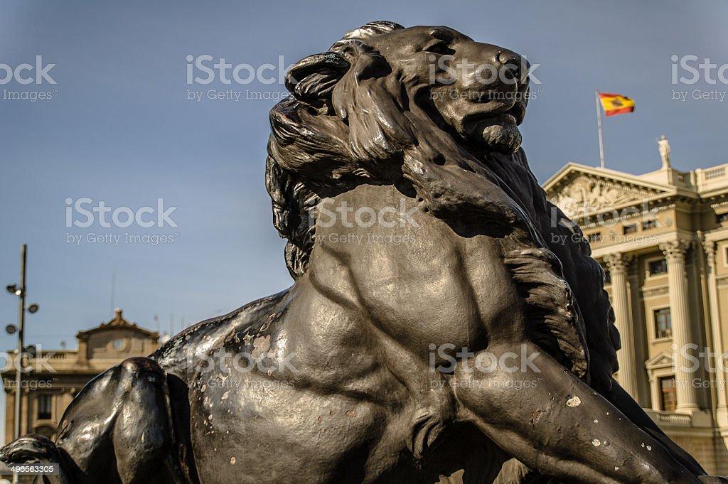 Barcelona Lion Statue royalty-free stock photo
