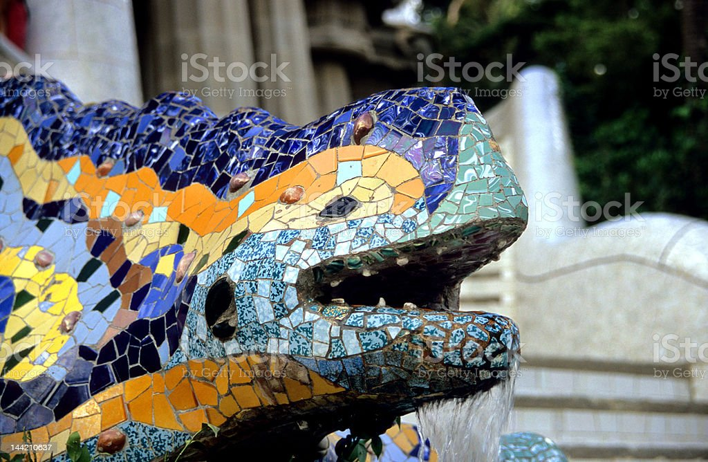Barcelona Lizard Fountain royalty-free stock photo