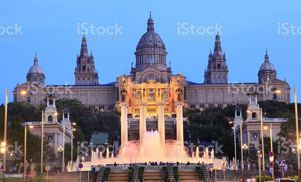 Barcelona, Magic Fountain and Art Museum at dusk stock photo