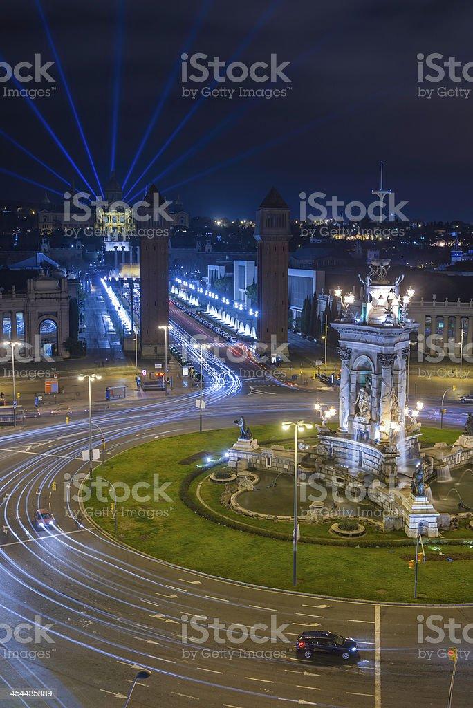 Barcelona MNAC laser lightshow over Fiera Plaza de'Espanya Spain royalty-free stock photo