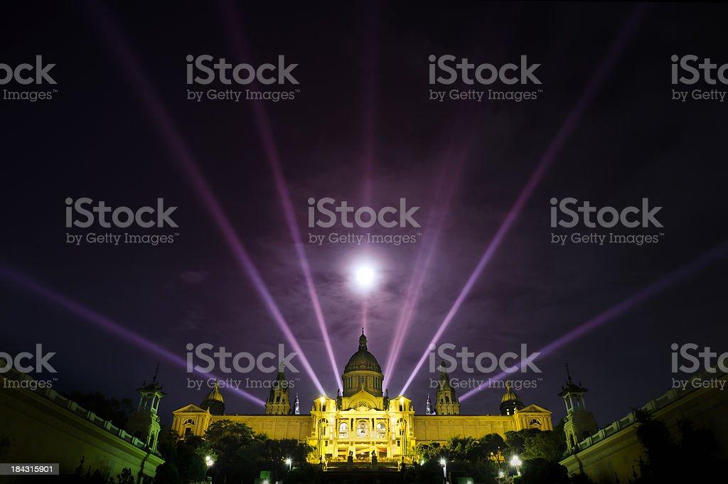 Barcelona night cityscape stock photo
