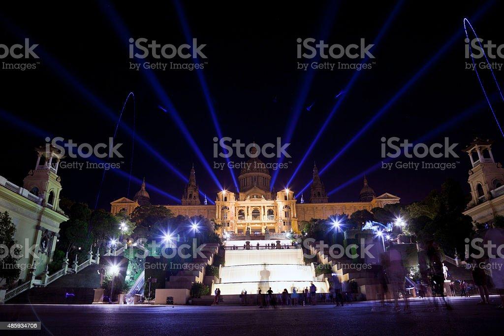 Barcelona night cityscape, Spain stock photo