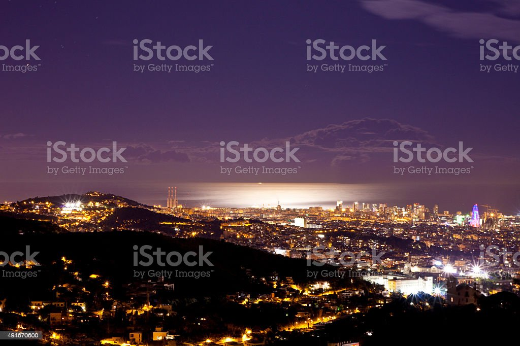 Barcelona night shot stock photo
