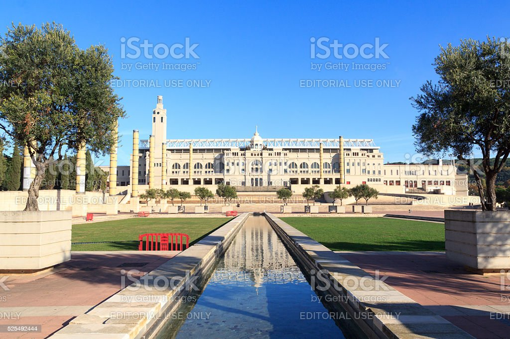 Barcelona Olympic Stadium and olympic park (Anella Olimpica) stock photo