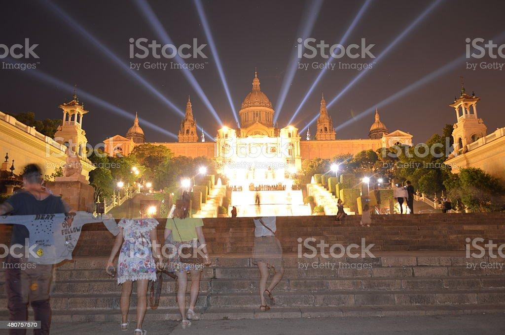 Barcelona Palau Nacional at night stock photo