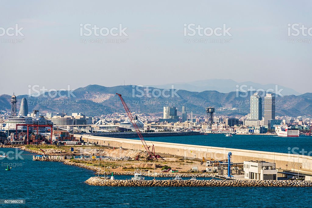 Barcelona panorama with harbor in the foreground stock photo