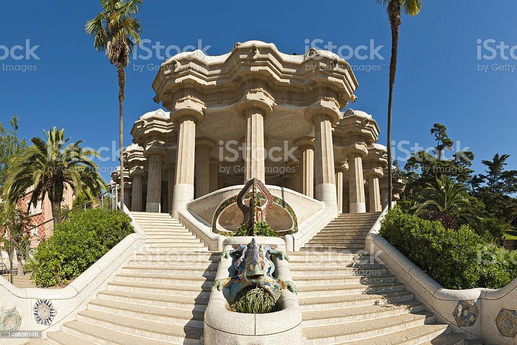 Barcelona Parc Güell Gaudí mosaic dragon Sala Hipostila Catalunya España stock photo