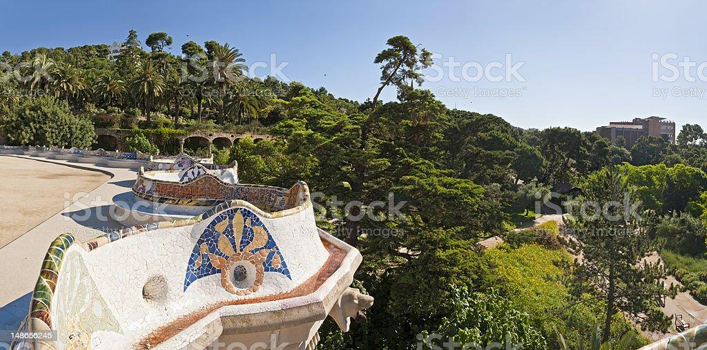 Barcelona Parc Güell Gaudí mosaic terrace panorama Catalonia Spain stock photo
