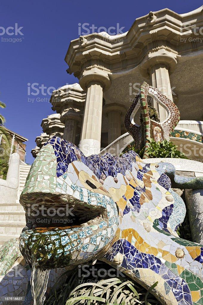 Barcelona Parc Güell Gaudí's colorful mosaic dragon fountain Catalonia Spain royalty-free stock photo