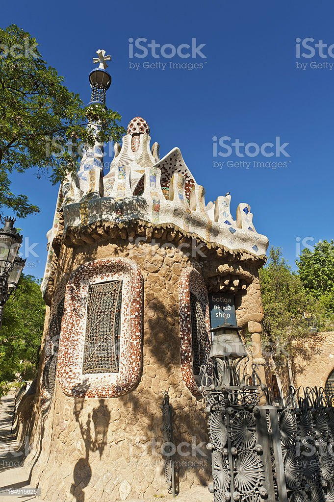 Barcelona Parc Guell Gaudi gatehouse Spain stock photo
