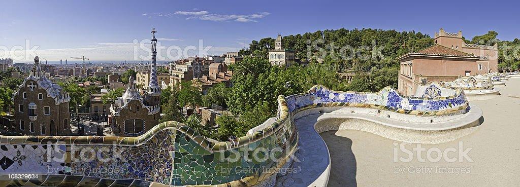 Barcelona Parc Guell Gaudi landmark gardens mosaic terrace Catalonia Spain stock photo