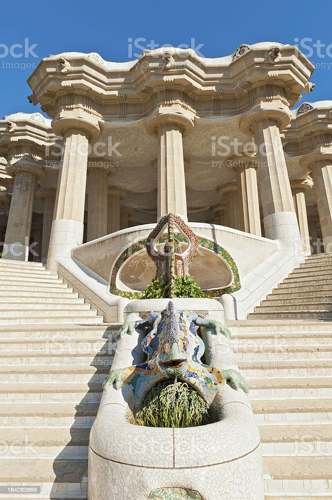 Barcelona Parc Guell terrace Gaudi mosaic dragon Spain stock photo