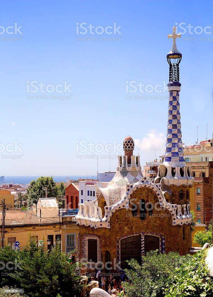 Barcelona. Park Güell. Gingerbread house. stock photo