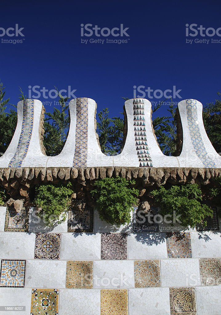Barcelona - Park Guell mosaic royalty-free stock photo