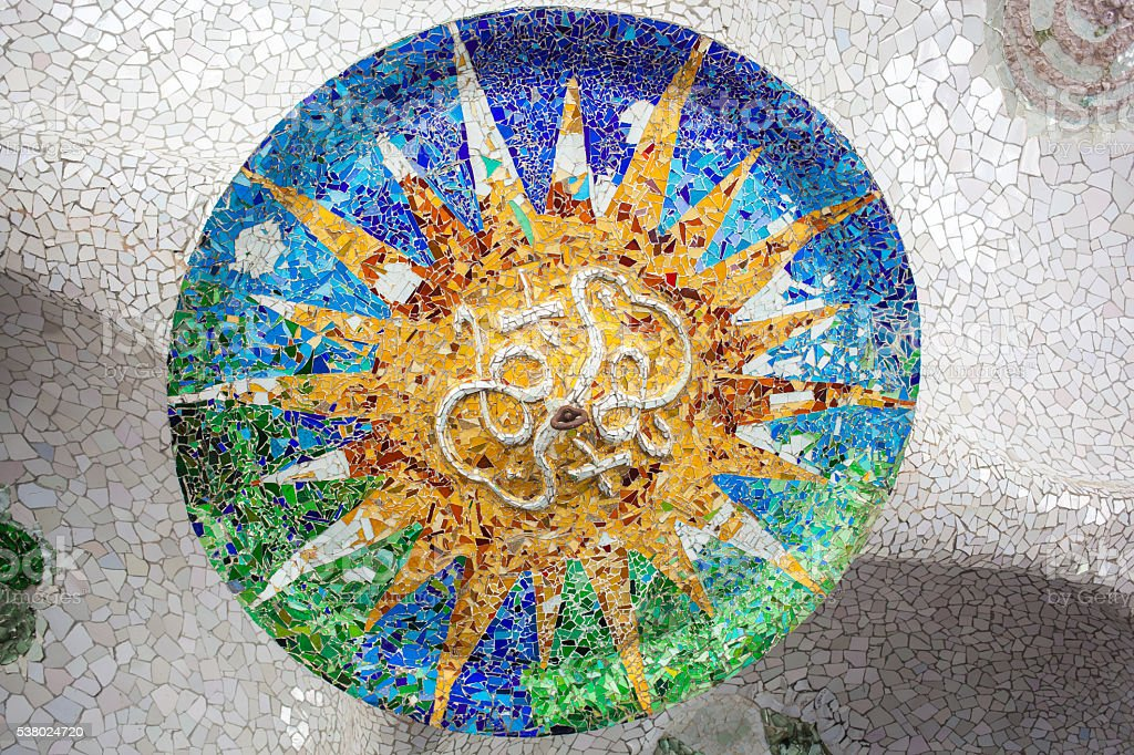 Barcelona Park Guell of Gaudi mosaic stock photo