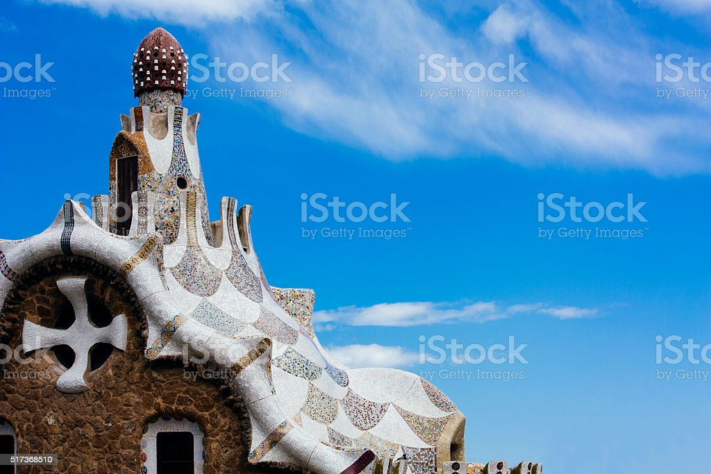 barcelona park guell, tourism travel destination stock photo