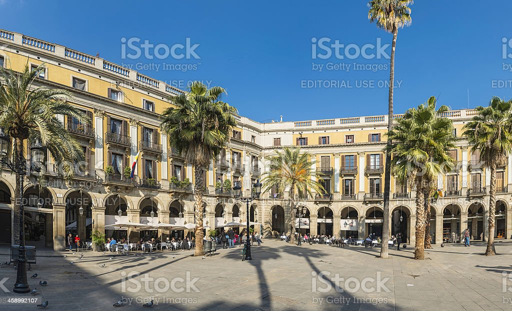 Barcelona Plaza Real people enjoying restaurants in iconic square Spain stock photo
