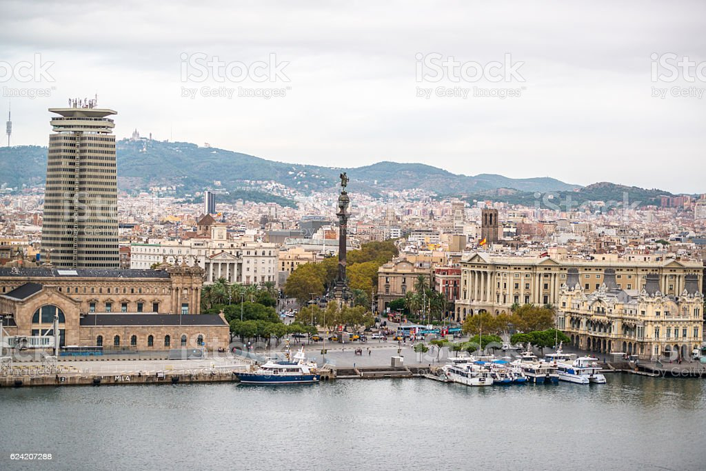 Barcelona Port Vell from above, Spain stock photo