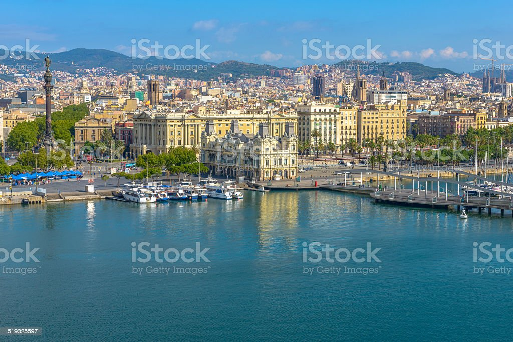 Barcelona port view from the air, Spain stock photo