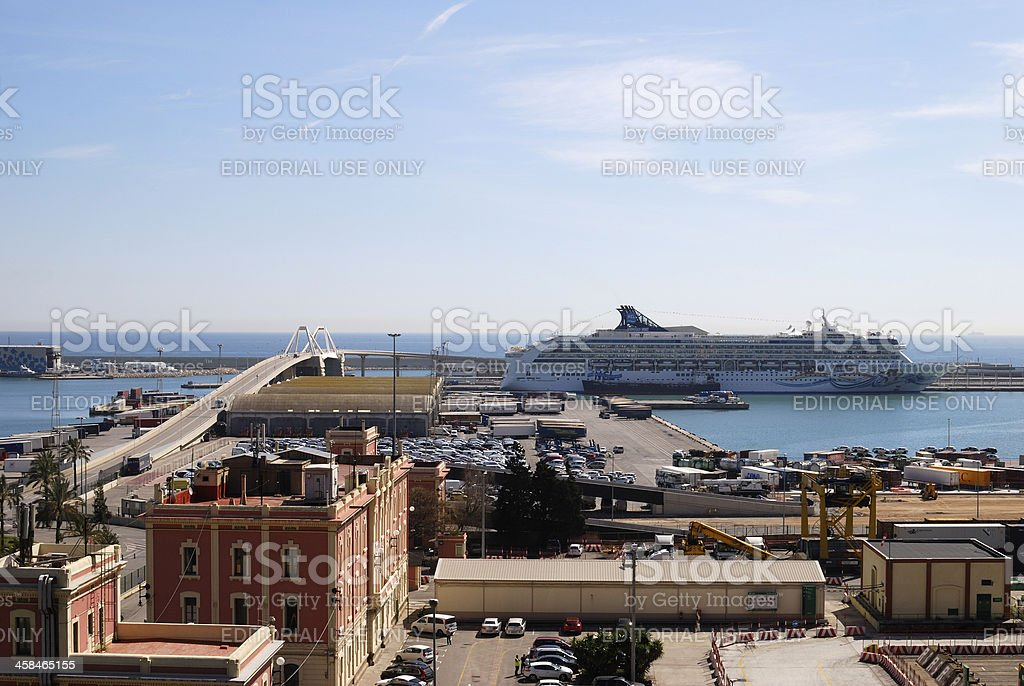 Barcelona Port with cruise ship. Spain royalty-free stock photo