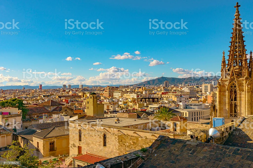Barcelona rooftop panorama stock photo