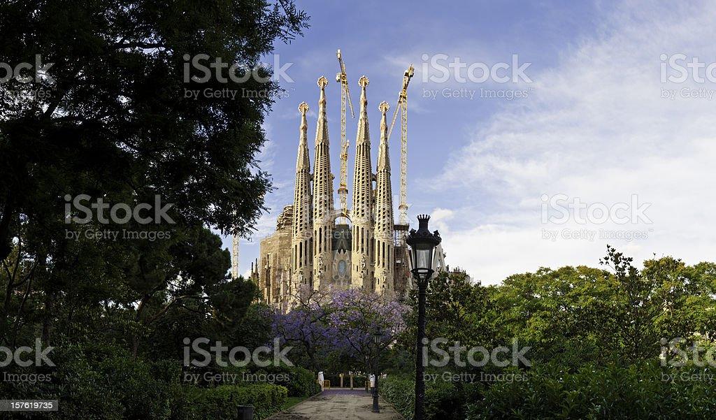 Barcelona Sagrada Familia Gaudi church L'Eixample summer panorama Catalonia Spain stock photo