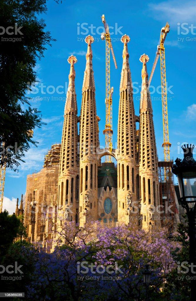 Barcelona Sagrada Familia Gaudi spires framed by spring foliage Spain stock photo