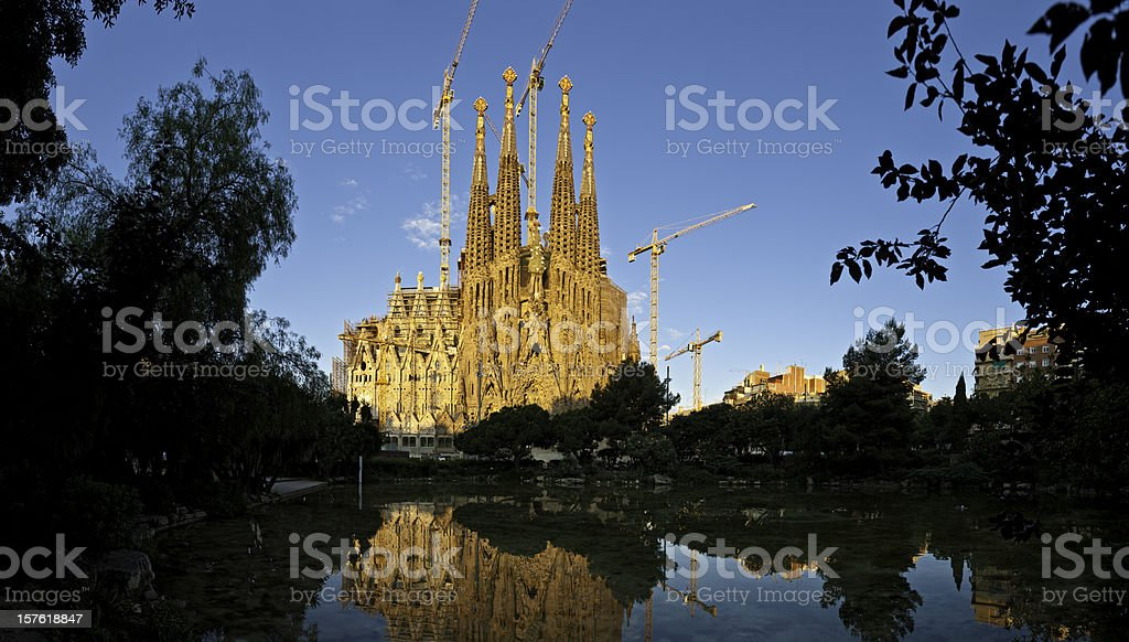 Barcelona Sagrada Família Gaudí's ornate landmark church reflecting Catalonia Spain royalty-free stock photo