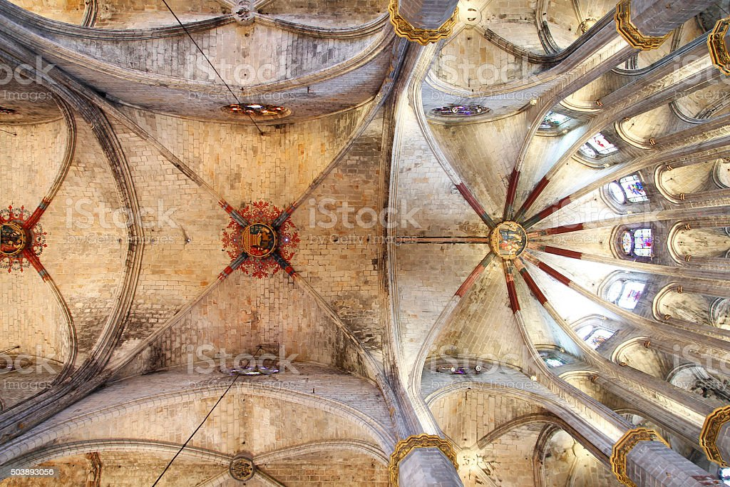 Barcelona, Santa Maria del Mar ceiling vault stock photo