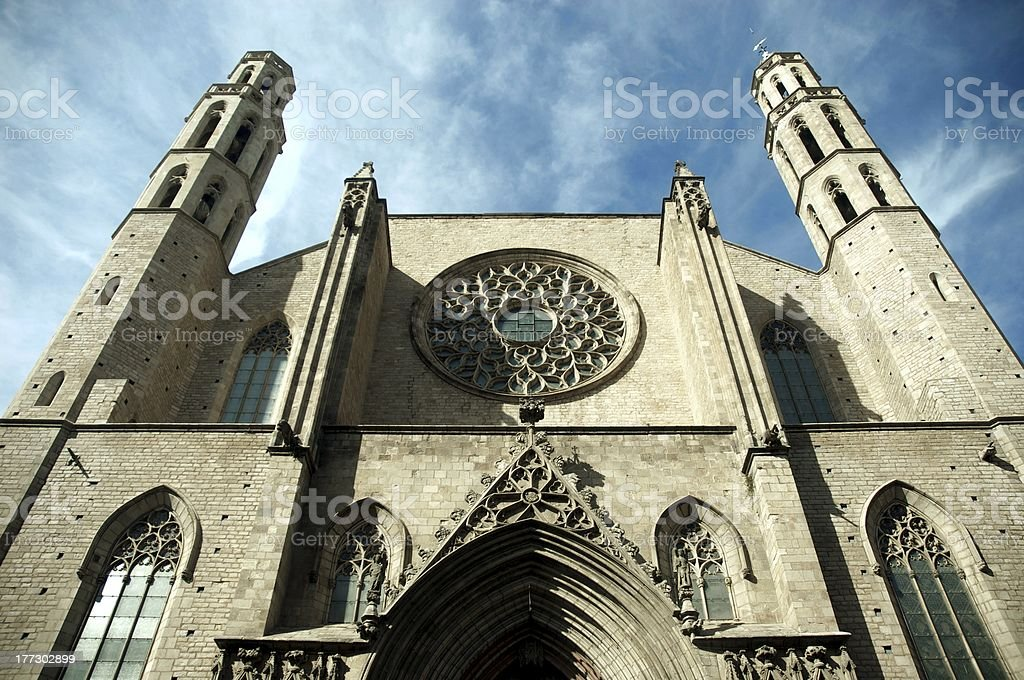 Barcelona santa maria del mar stock photo