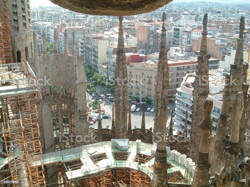 Barcelona desde la Sagrada Familia de Gaudí foto de stock libre de derechos