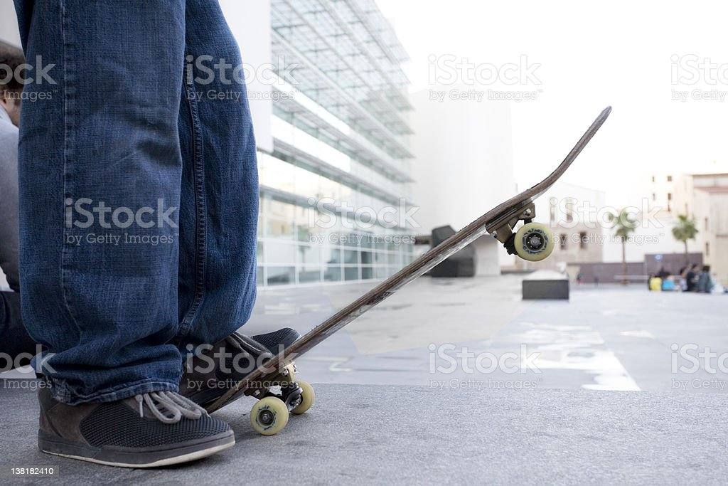 Barcelona Skaterboarder boy?s feet royalty-free stock photo
